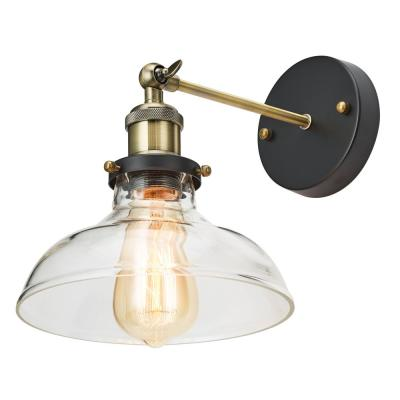 1-Light Antique Bronze Adjustable Sconce with Clear Glass Barnyard Shade