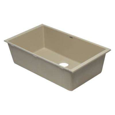 Undermount Granite Composite 33 in. Single Bowl Kitchen Sink in Biscuit