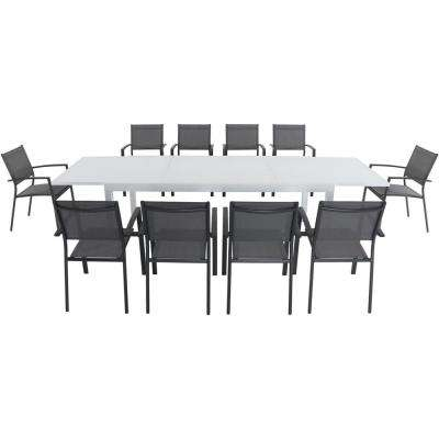 Palmero 11-Piece Aluminum Outdoor Dining Set with 10-Sling Chairs in Gray and a 40 in. x 118 in. Expandable Dining Table