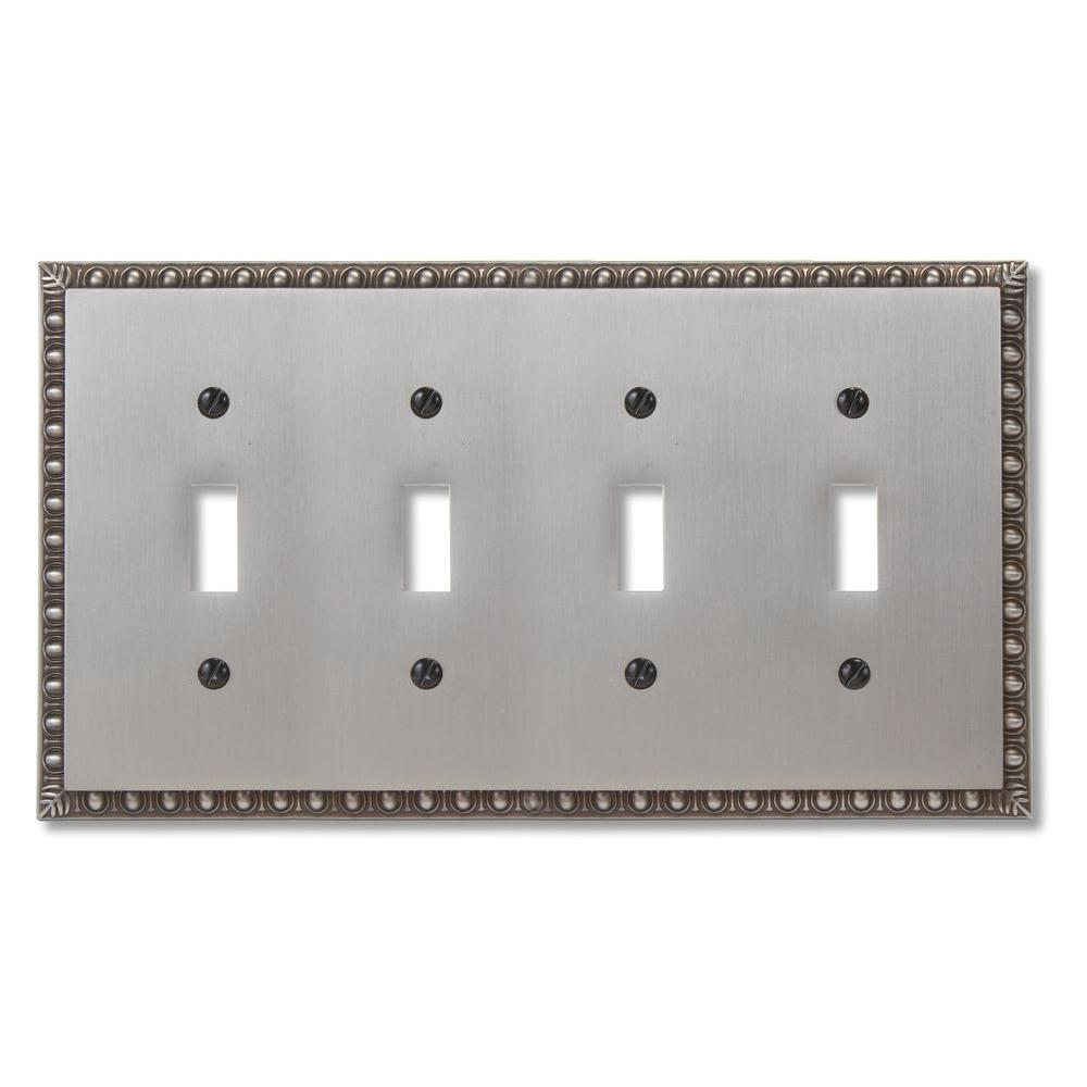 Amerelle Renaissance 4 Toggle Wall Plate Antique Nickel