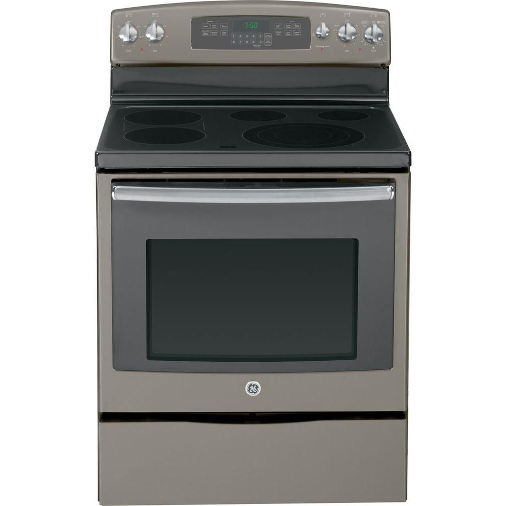 GE 5.3 cu. ft. Electric Range with Self-Cleaning Convection Oven in Slate