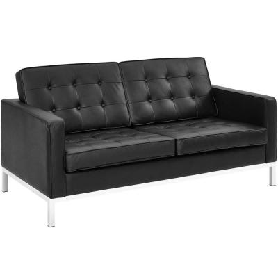 Loft 63 in. Black Faux Leather 2-Seater Loveseat with Removable Cushions