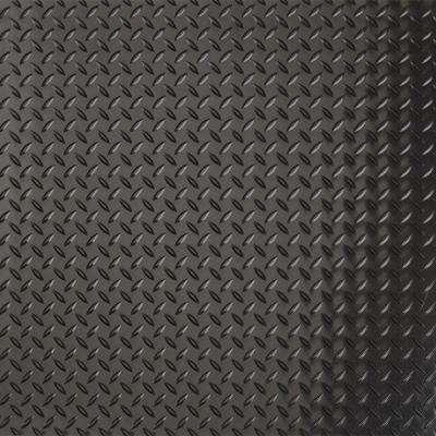 RaceDay 24 in. x 24 in. Peel and Stick Diamond Tread Midnight Black Polyvinyl Tile (40 sq. ft. / case)
