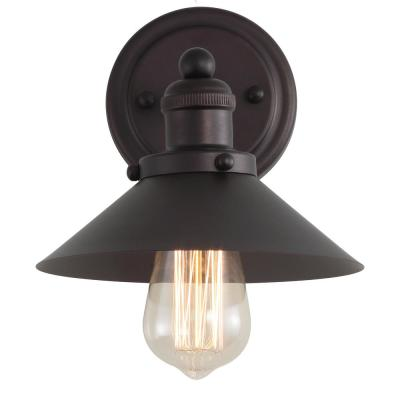 July 7.75 in. 1-Light Metal Shade Oil Rubbed Bronze Sconce