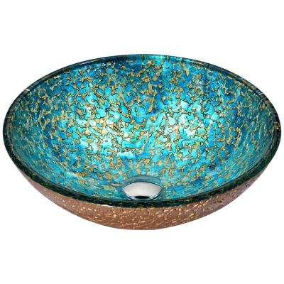 Chrona Series Vessel Sink in Gold/Cyan Mix