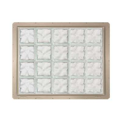 39.25 in. x 31.75 in. x 3.25 in. Wave Pattern Vinyl Glass Block Window with Clay Nailing Fin