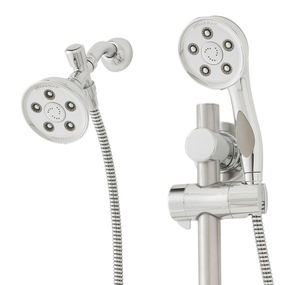 dual shower head bar. speakman caspian anystream 3-spray dual showerhead and handheld with ada grab bar in polished chrome-vs-123014 - the home depot shower head o