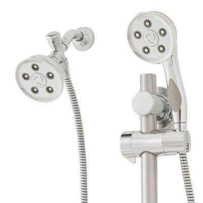 Caspian Anystream 3-Spray Dual Showerhead and Handheld Showerhead with ADA Grab Bar in Polished Chrome