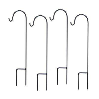 3 in. x 18 in. Black Metal Shepherd's Hook (4-Pack)