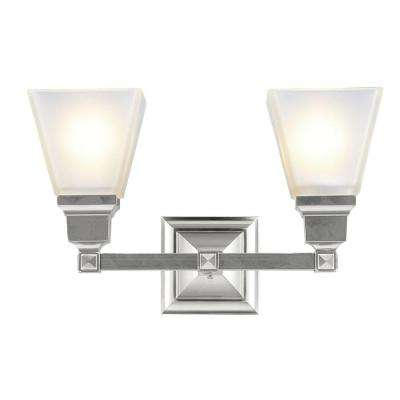 2-Light Brushed Nickel Bath Light with Satin Glass Shade