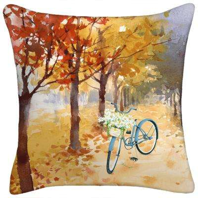 16 in. x 16 in. x 5 in. Bicycle Toss Pillow