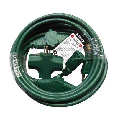 25 ft. Indoor/Outdoor Extension Cord with Cord Connect Adapter, Green
