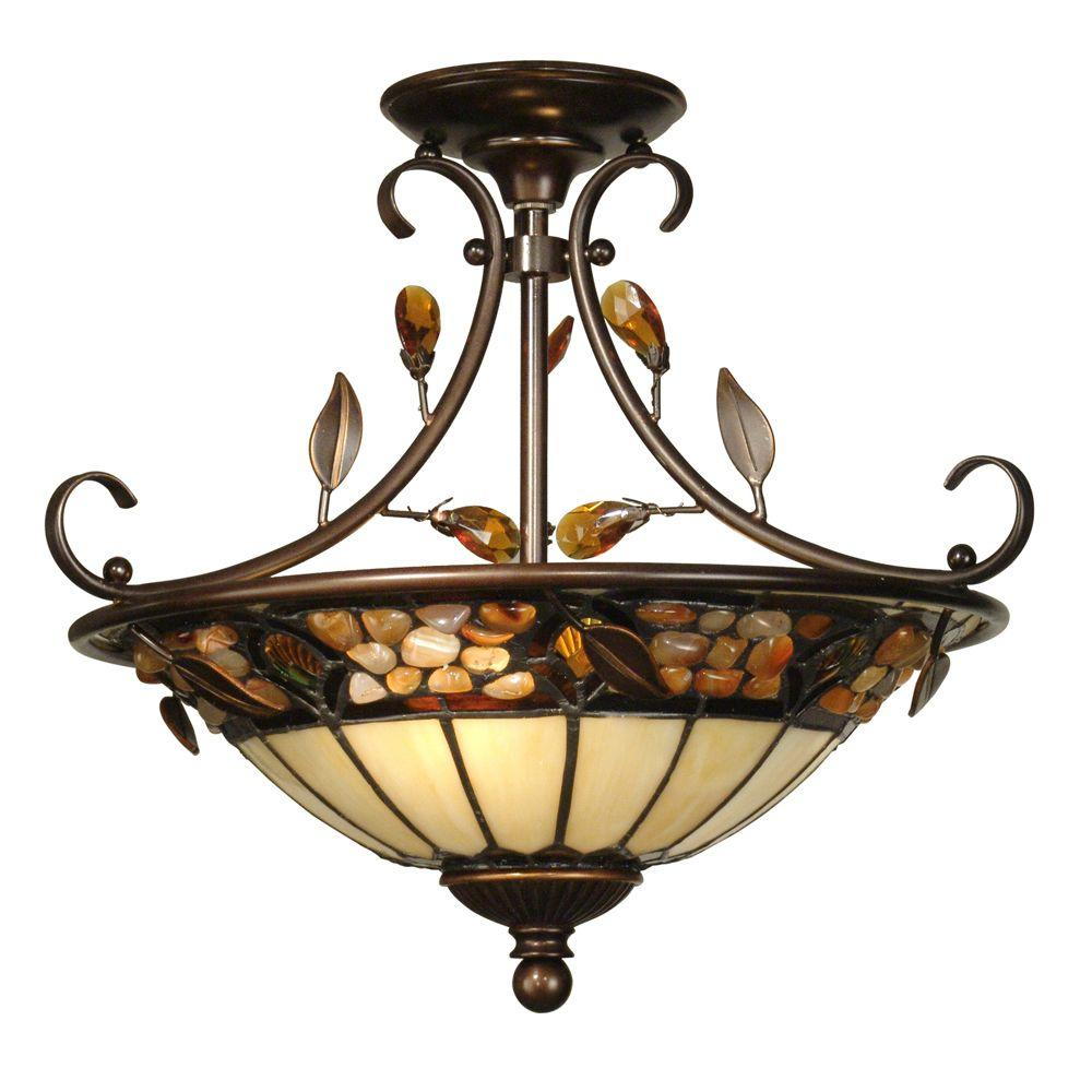 2-Light Pebble Stone Tiffany Anti Golden Sand Semi-Flush Mount Light