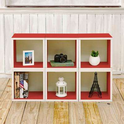 25.6 in. x 40.2 in. Barcelona 6-Cube zBoard Stackable Modular Storage Cubby Organizer, Tool Free Assembly Storage in Red