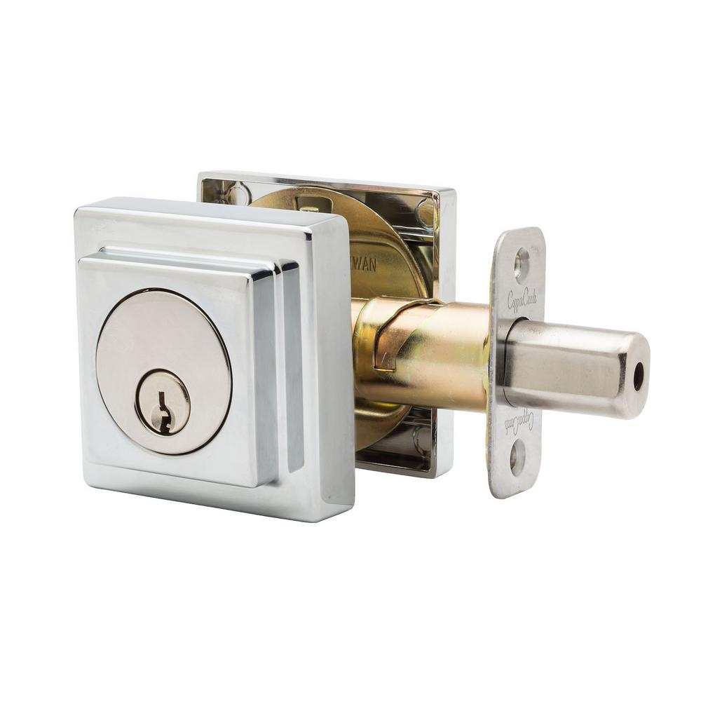 Comtemporary Square Single Cylinder Polished Stainless Deadbolt