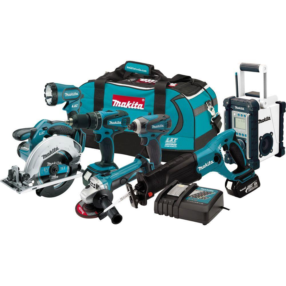 makita 18 volt lxt lithium ion combo kit 7 tool lxt702 the home depot. Black Bedroom Furniture Sets. Home Design Ideas