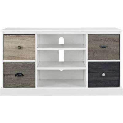 Newbridge White 50 in. TV Console with Multicolored Door Fronts