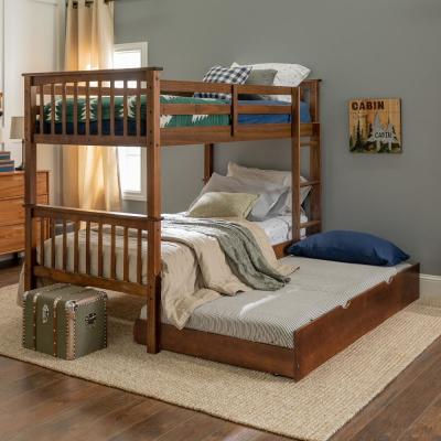 Solid Wood Walnut Twin Bunk Bed with Trundle Bed