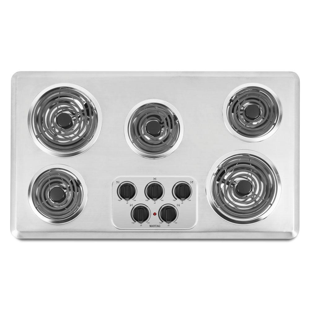 Maytag 36 in. Coil Electric Cooktop in Brushed Chrome with 5 Elements