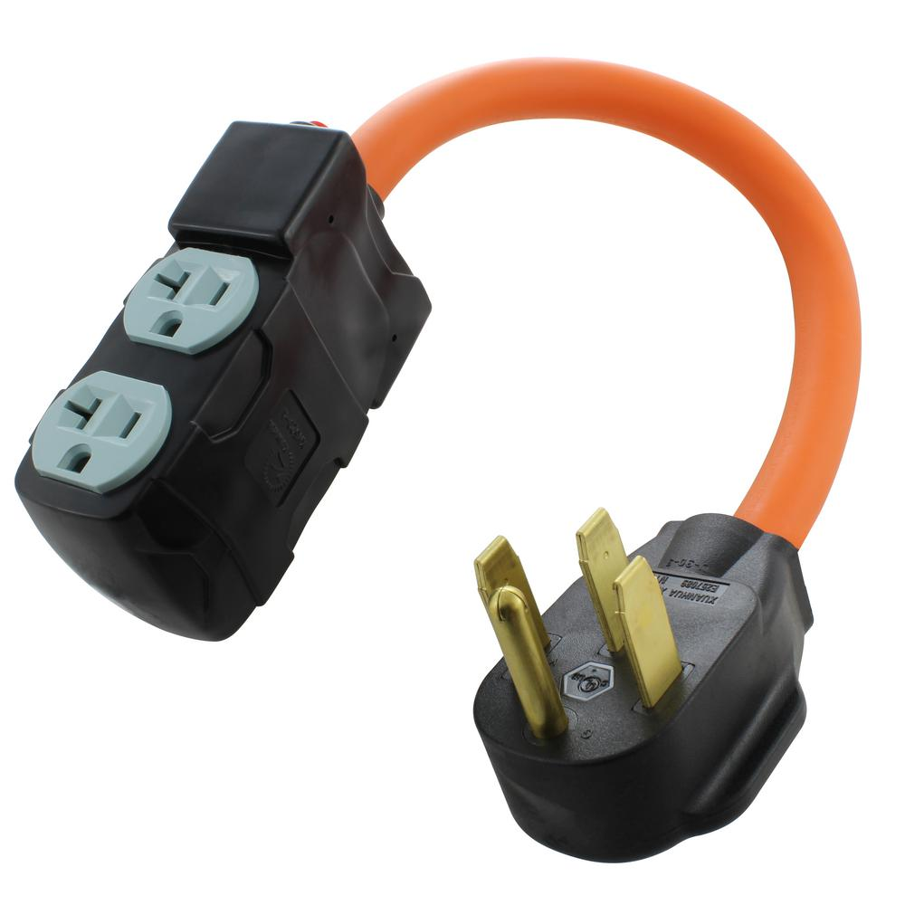AC WORKS 1.5 ft. Adapter NEMA 14-50P RV/Range/Generator Plug to (4) Household Outlets with 20 Amp Breaker