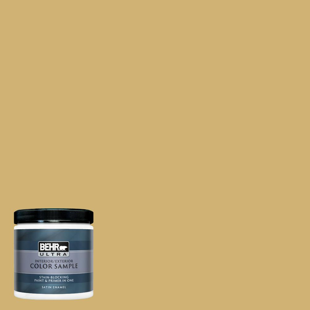 Behr Ultra 8 Oz M320 5 Dried Chamomile Satin Enamel Interior Exterior Paint And Primer In One Sample Ul22416 The Home Depot