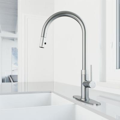 Bristol Single-Handle Pull-Down Sprayer Kitchen Faucet with Deck Plate in Stainless Steel