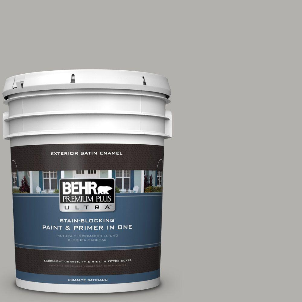 BEHR Premium Plus Ultra 5-gal. #BXC-25 Colonnade Gray Satin Enamel Exterior Paint