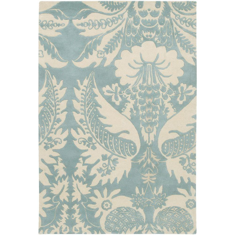 Chandra Thomaspaul Blue/Cream 7 ft. 9 in. x 10 ft. 6 in. Indoor Area Rug