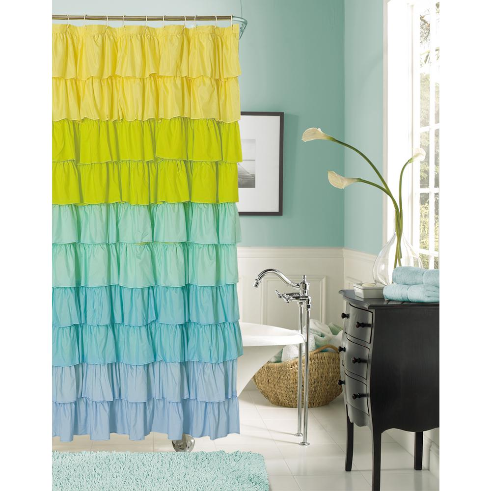 Blue Ruffled Fabric Shower Curtain