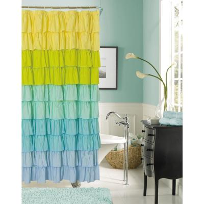 Flamenco 72 in. Blue Ruffled Fabric Shower Curtain