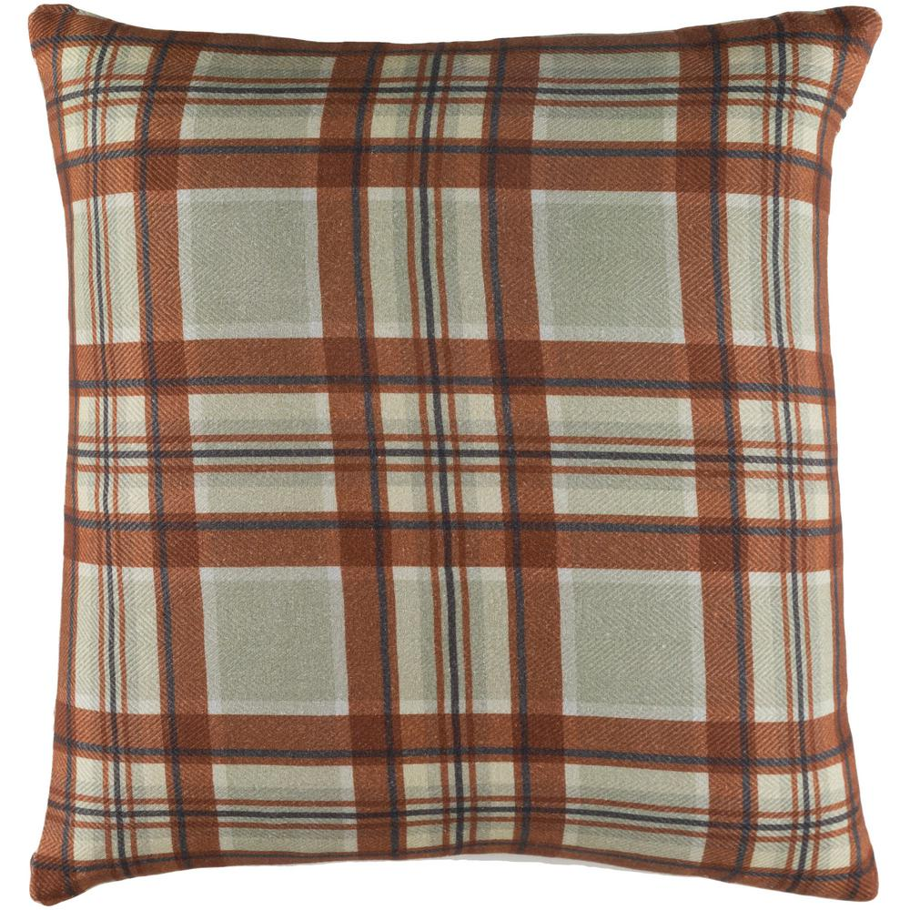 Lanvale Khaki Plaid Polyester 22 in. x 22 in. Throw Pillow