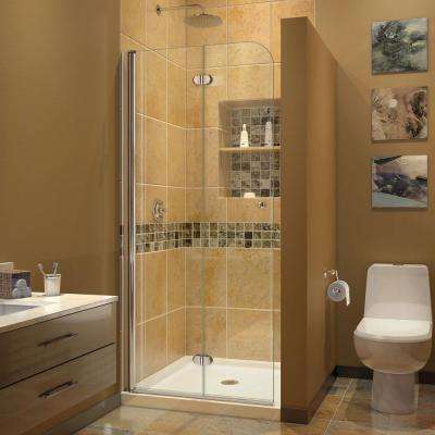 Aqua Fold 33.5 in. x 72 in. Semi-Frameless Hinged Shower Door in Chrome