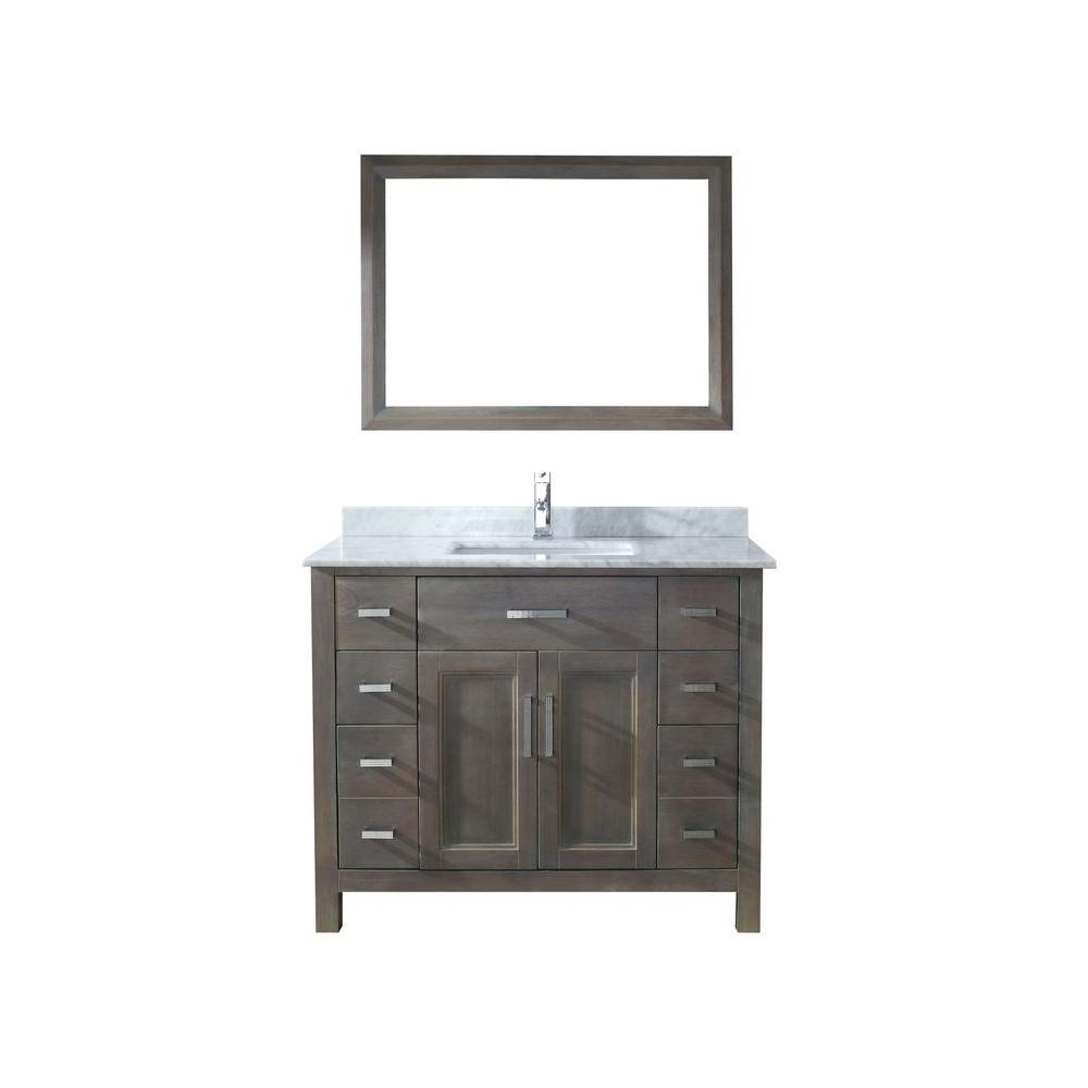 Kelly 42 in. Vanity in French Gray with Marble Vanity Top