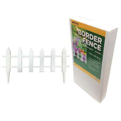 12 in. x 23 in. Vinyl Picket Garden Fence (6-Pack)