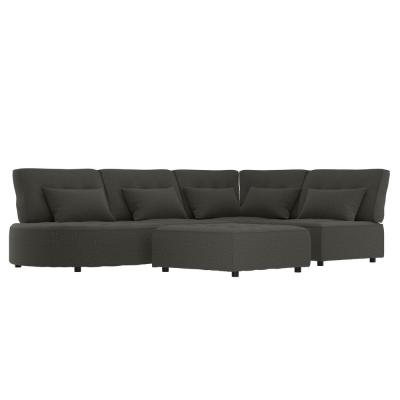 McCarthy 5-Piece Charcoal Gray Polyester L-Shaped Modular Sectional Sofa with Ottoman