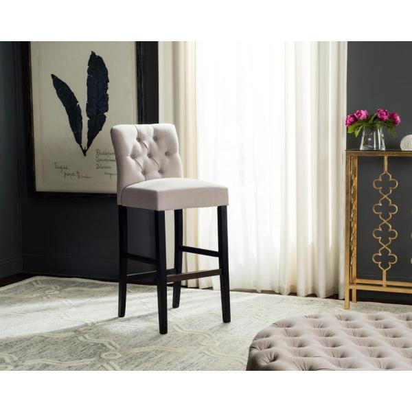 Safavieh Tiffany 32.3 in. Tufted Bar Stool in Taupe