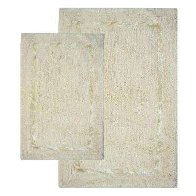 Greenville Vanilla 21 in. x 34 in. and 17 in. x 24 in. 2-Piece Bath Rug Set