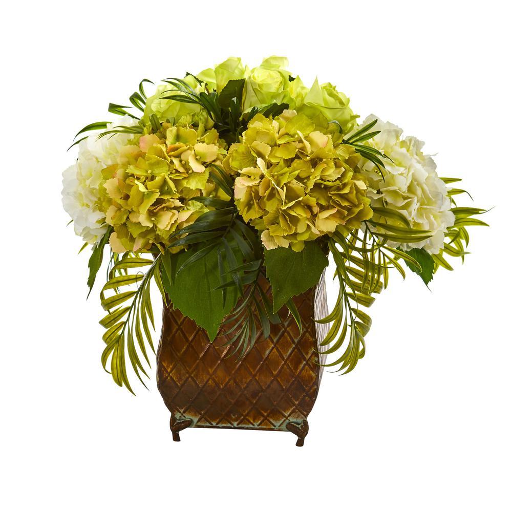 Indoor Roses and Hydrangea Artificial Arrangement in Metal Planter