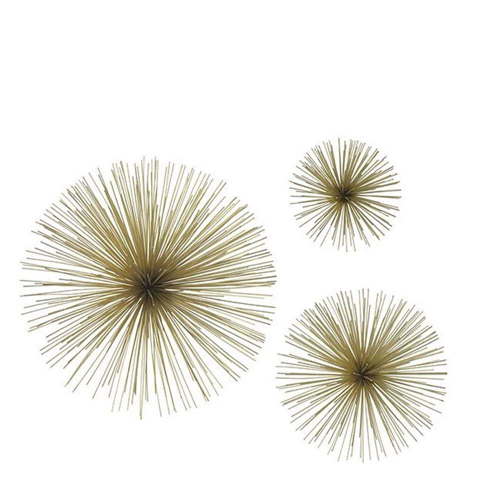 THREE HANDS Assorted Metal Gold Star Bursts Wall Art (Set of 3)