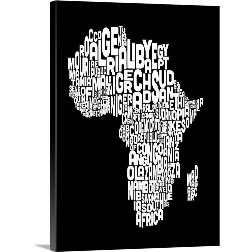 Greatbigcanvas african countries text map black and white by michael tompsett canvas wall art 1403434 24 18x24 the home depot