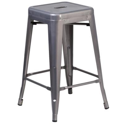 24.25 in. Clear Coated Bar Stool