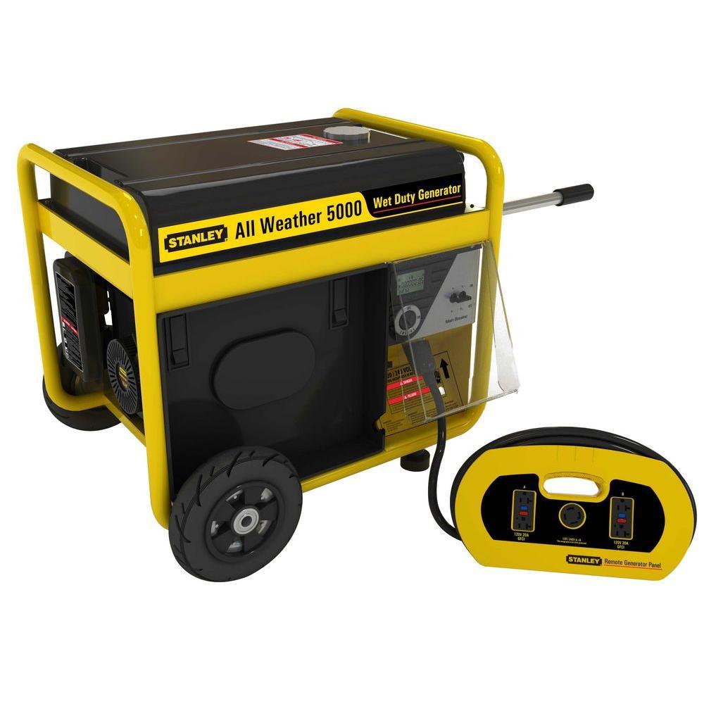 Stanley 5,000-Watt Storm Gasoline Powered Portable Generator with Removable Generator Panel