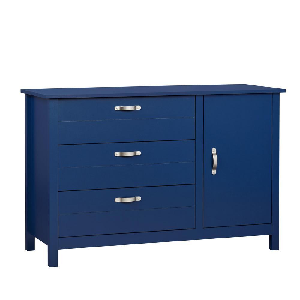 Morgan 3-Drawer and 1-Door Blue Dresser