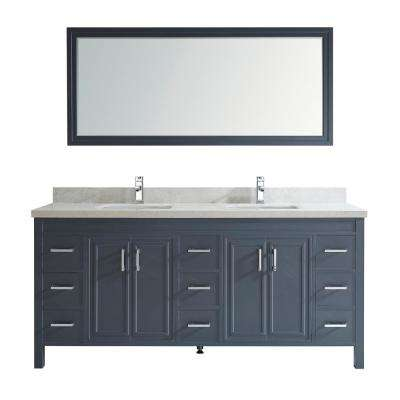 Dawlish 75 in. W x 22 in. D Vanity in Pepper Gray with Engineered Vanity Top in White with White Basin and Mirror