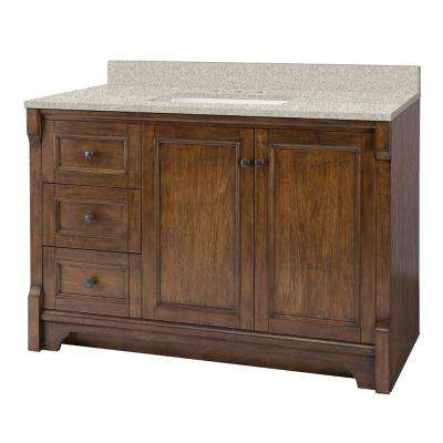 Creedmoor 49 in. W x 22 in. D Vanity in Walnut with Engineered Marble Vanity Top in Sedona with White Sink