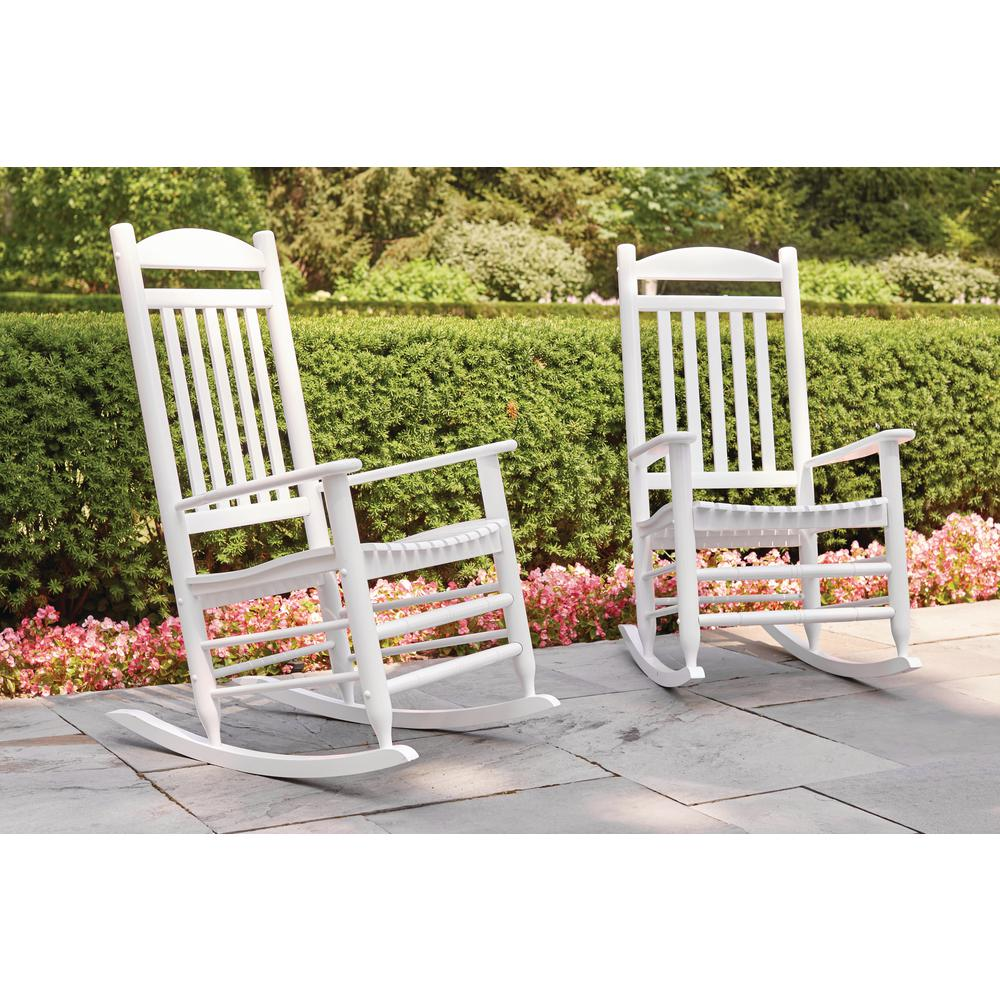 Awe Inspiring Hampton Bay Glossy White Wood Outdoor Rocking Chair Caraccident5 Cool Chair Designs And Ideas Caraccident5Info