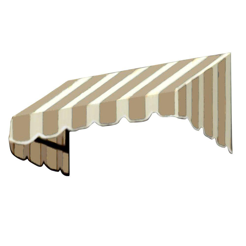 AWNTECH 8 ft. San Francisco Window/Entry Awning (44 in. H x 36 in. D) in Tan/White Stripe