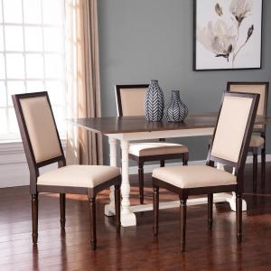 Barker Brown and Ivory 39 in. H Upholstered Dining Chairs (Set of 2)