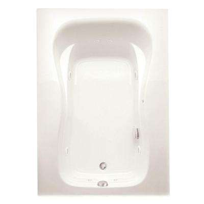 Marratta 60 in. Acrylic Left Drain Rectangular Alcove Whirlpool Bathtub with Heater in Biscuit