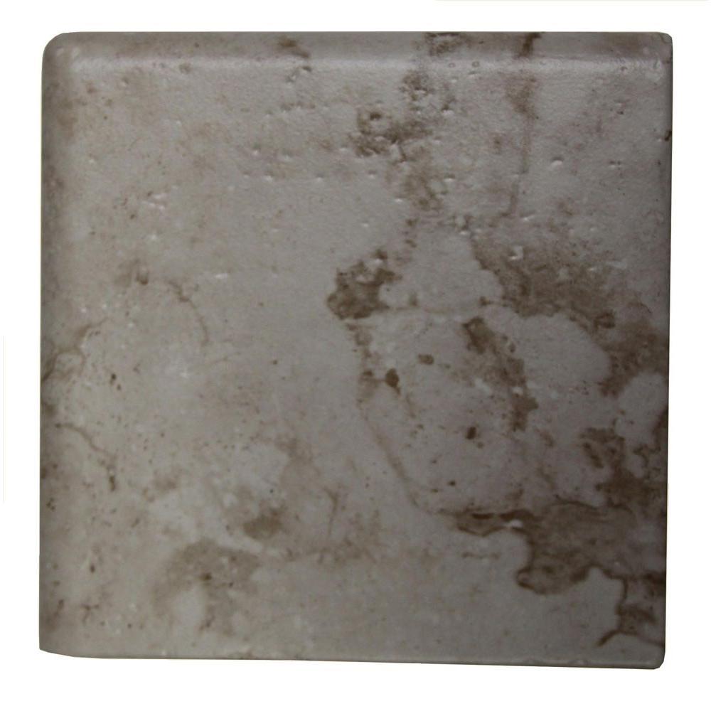 Daltile Brancacci Aria Ivory 6 in. x 6 in. Ceramic Surface Bullnose Corner Wall Tile